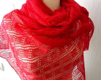 Linen Scarf Red Lace Shawl Knitted Natural Summer Wrap