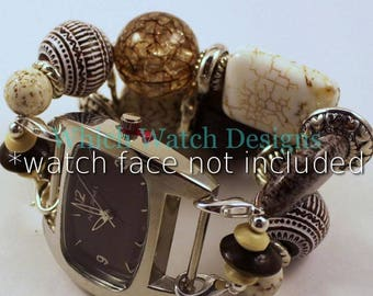 Cafe Au Lait.. Super Chunky Brown and Cream Interchangeable Watch Band, Wood, Magnesite, Resin
