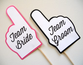 Team Bride and Team Groom Finger Photo Booth Props . Wedding Photo Booth Props . Team Bride and Team Groom . Pink and Black . Set of 2