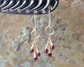 GARNET earrings,  gold filled earrings, red gemstone jewelry, handmade artisan jewelry, Angry Hair Jewelry
