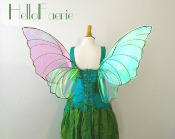 Spring Green Butterfly Fairy wings Fantasy Butterfly Fairy Iridescent Wings