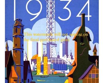 Art Print Chicago World's Fair 1934 - Print of old  Travel Poster