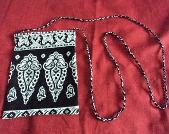 mini black and white pattern shoulder bag or pouch
