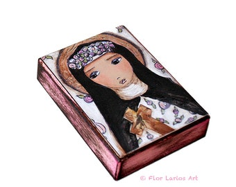 Saint Rita - ACEO Giclee print mounted on Wood (2.5 x 3.5 inches) Folk Art  by FLOR LARIOS