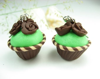 Mint and Chocolate Rose Cupcake Earrings - food jewelry, food earrings, cupcake jewelry, cute rose earrings, food gift for her polymer clay