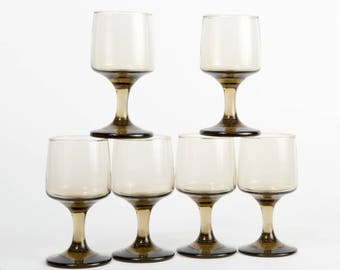 Set of Six Wine Glasses, Libbey Rock Sharpe Tawny Accent Stemware, Retro, Vintage, Smoky Brown