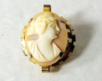 Cameo Shell Pin, Classic Womans Portrait Carved In SeaShell Brooch, Tan and Cream Womans Head with Gold Metal Setting, 1960s