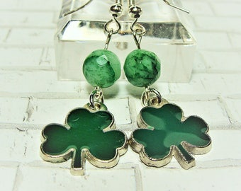 Luck of the Irish Dangle Earrings with Shamrocks and Mint Green Malay Jade Faceted Beads