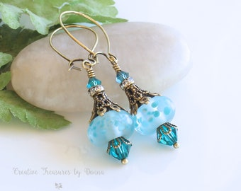 Brass Earrings, Turquoise Lampwork Beads, Rhinestone Spacers, Swarovski Crystals, Victorian Earrings, Turquoise Earrings, Wedding Jewelry