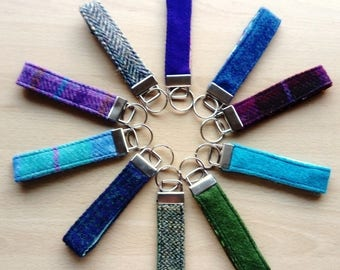 Harris Tweed Keyring Handles with Complimentary Cotton, Metal Clasp and Split Keyring, Great Gift