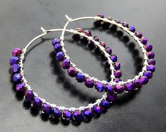 Purple Hoop Earrings, Iridescent Plum Wire Wrapped Hoops,  Beaded Sterling Silver Gemstone Earrings