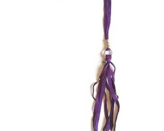 Jane necklace (PURPLE) - adjustable leather tassel for a simple but effective bohemian western look