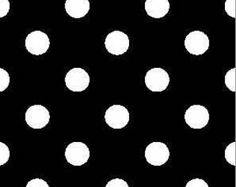 DOUBLE BRUSHED POLY, Black with White Polka Dots, Brushed Polyester Knit, Sold by the yard