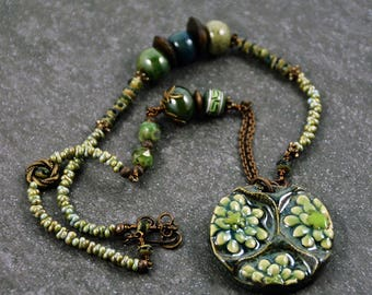 Bohemian Necklace Handmade Green Pendant Necklace Rustic Gypsy Jewelry