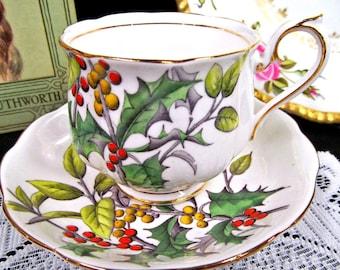 Royal Albert Tea Cup and Saucer FOTM Series Teacup Holly Painted Beaded Set