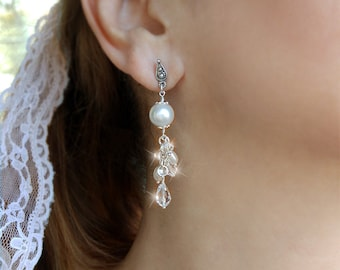 Wedding Bridal Long Cluster Earrings With Swarovski Crystals And Freshwater Pearls Sterling Silver Wire Wrapped Chandelier Jewelry For Bride