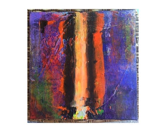 11 x 11 inches Abstract Art Acrylic Painting Canvas on board Ready to hang with hanger Contemporary Modern Paint