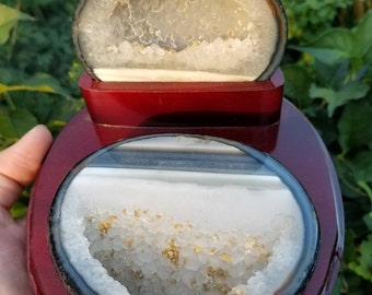 Agate Jewelry Box with Wood Base