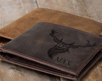 hunting gifts  deer hunting  deer hunter deer head gift for hunter deer antlers gift for dad  outdoors  men's wallet leather wallet
