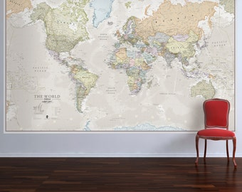 Huge Classic World Map- Vintage, elegant, home decor, home, bedroom, living room, wall art, map poster, wall hanging