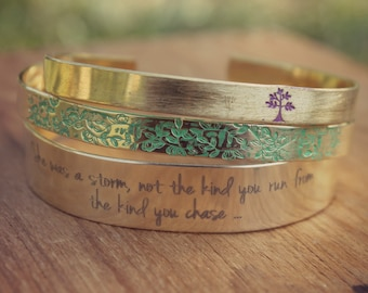 Inspirational | She Was A Storm, Not The Kind You Ran From, The Kind You Chased, Gold Stacked Bangles, Set of Layering Bracelets