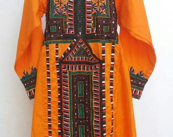 A beautiful original antique orange satin dress with hand embroidery work from Baluchisthan Free shipping.