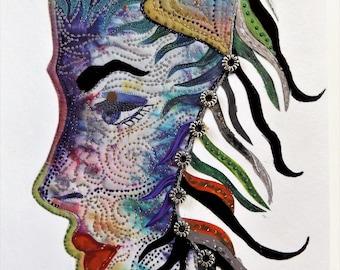 Fine Art Greeting Card: OOAK Montage 'Wind in Her Hair'