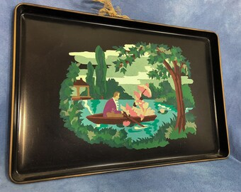 Vintage Paint By Number Metal Serving Tray Wall Hang, Colonial Rowboat Lake