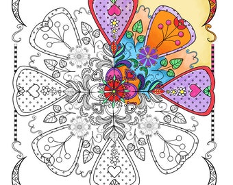 Floral Mandala to color, Downloadable print to color, Fun design to color for all ages