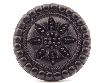 Large 41mm Antique Victorian Czech black floral embossed lacy hat pin topper art glass bead 0034-81