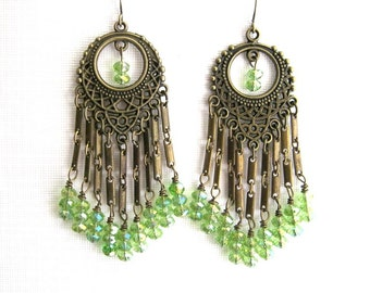 Long Brass and Light Green Crystal Chandelier Earrings Long Light Green Earrings