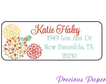 60 floral address labels flower and bird address labels Personalized flower and bird stickers red yellow teal floral blossom address labels