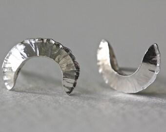 Gail Half Moon Stud Earrings - Sterling Silver
