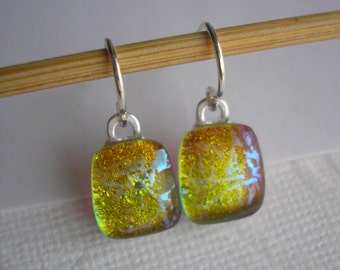 Small Drop Earrings, Golden Shimmer, Dichroic Fused Glass Jewelry, Sterling Earwires, Color Shifting Glass, Earrings Petite, xDangles Dichro