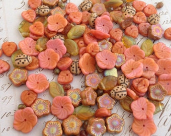 Flora Botanica Bead Mix - Terracota tones Czech Pressed Glass Beads (2oz - 150 beads)