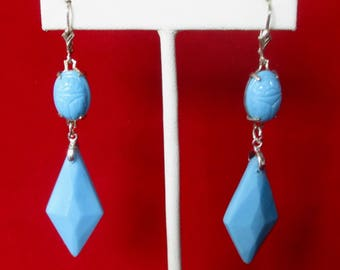 Pair of Art-Deco  Turquoise Glass Earrings