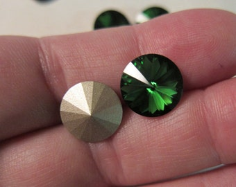 12mm, Swarovski, Art 1122, Faceted Crystal Rivoli, Dark Moss Green, Foil Back - 2, 4, 6 & 10 Rhinestone Pkgs, Larger Pkgs, Factory Packs