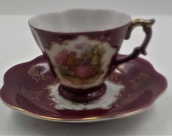 Porcelain Demitasse Tea Cup and Saucer - Burgundy - Gold Accents - Hand Painted - Shabby Cottage - Victorian Style