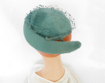 1950s teal hat, woman's vintage cocktail hat, percher, fascinator, Mr. John