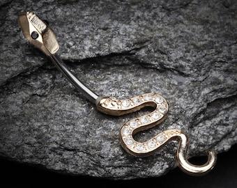 Golden Snake Sparkle Belly Button Ring
