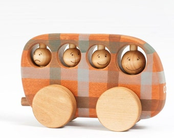Wooden Toys , Wood Toy Bus,  Montessori toys, Natural Kids Toys, Organic Toys, School Bus Toy, All Natural Toys