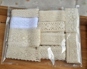 Cotton Lace Trim Set in Antique Style , lace trim set of 10 kinds,cotton tread lace trim