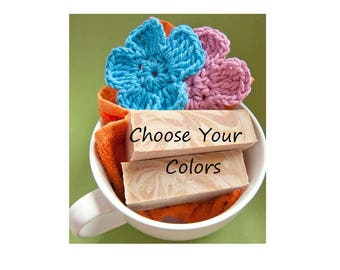 Floral USA Grown Cotton Scrubbies, USA Grown Cotton, US Shipping Included, Choice of Colors