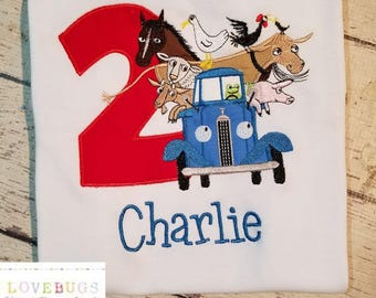 Custom Boys Little Blue Truck Birthday Shirt ~ Monogrammed, Applique, Embroidered ~ Many sizes available