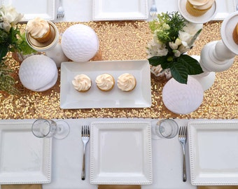 """Gold Sequin Table Runner  -14"""" x 84"""" - Wedding, Baby Shower, Bridal Shower, New Years, Holiday"""
