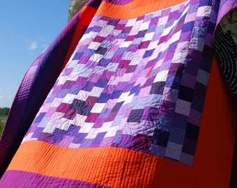 Purple Convergence With Orange Modern Patchwork Quilt
