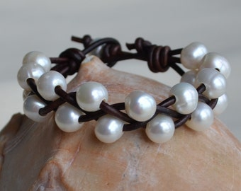 Pearls On Leather Cuff Bracelet Braided Pearl Leather Cuff Boho Bohemian Holiday Gifts For Her Yevga