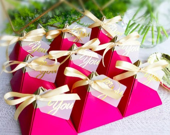 Pyramid with ribbon and tag Wedding Favor Boxes, Gift Boxes, Party favor box, Marble Wedding box (set of 20)