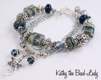 Lampwork Bracelet - Lampwork Swarovski Crystal Bali Silver Bead 2 Strand Bracelet - KTBL