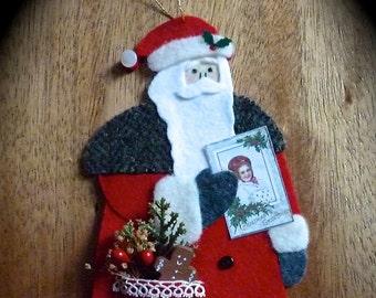 Santa Ornament, Handmade Ornament, Wool Felt Ornament, Handmade Santa Ornament, Felt Santa,  Vintage Inspired